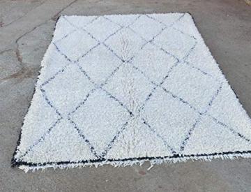 Marokkanische Beni ourain Berber Teppich Orient Teppich - 100% handgewebte natürlich Tribal Wolle Teppich - Diamant Formen - 2.60 x 1.65 m - 4