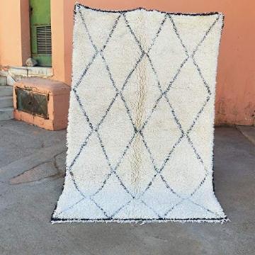 Marokkanische Beni ourain Berber Teppich Orient Teppich - 100% handgewebte natürlich Tribal Wolle Teppich - Diamant Formen - 2.60 x 1.65 m - 1
