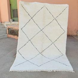 Marokkanische Beni ourain Berber Teppich Orient Teppich - 100% handgewebte natürlich Tribal Wolle Teppich - Diamant Formen - 2.46 x 1.70 m - 1