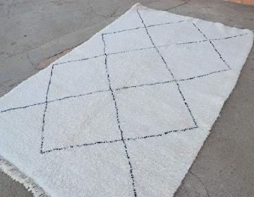 Marokkanische Beni ourain Berber Teppich Orient Teppich - 100% handgewebte natürlich Tribal Wolle Teppich - Diamant Formen - 2.46 x 1.70 m - 2