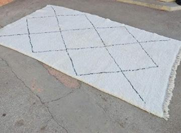 Marokkanische Beni ourain Berber Teppich Orient Teppich - 100% handgewebte natürlich Tribal Wolle Teppich - Diamant Formen - 2.46 x 1.70 m - 3