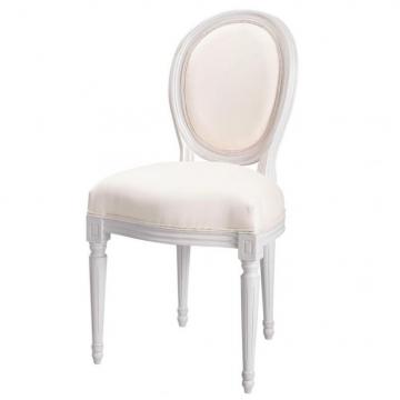 Medaillon Stuhl aus weißem Holz mit elfenbeinfarbenem Baumwollbezug Louis