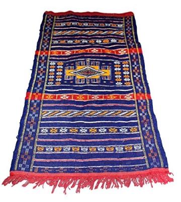 Moroccanity Beni ourain blau mit rot und gelb Designs–handgewebte Kelim Wolle Joppe Berber Teppich, handgefertigt, 1,35x 0,75Meter - 2