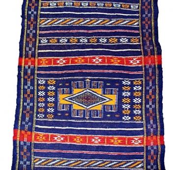 Moroccanity Beni ourain blau mit rot und gelb Designs–handgewebte Kelim Wolle Joppe Berber Teppich, handgefertigt, 1,35x 0,75Meter - 3