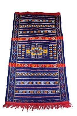 Moroccanity Beni ourain blau mit rot und gelb Designs–handgewebte Kelim Wolle Joppe Berber Teppich, handgefertigt, 1,35x 0,75Meter - 1