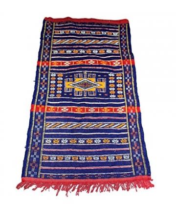 Moroccanity Beni ourain blau mit rot und gelb Designs–handgewebte Kelim Wolle Joppe Berber Teppich, handgefertigt, 1,35x 0,75Meter - 4