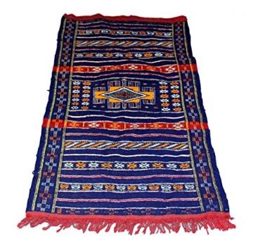 Moroccanity Beni ourain blau mit rot und gelb Designs–handgewebte Kelim Wolle Joppe Berber Teppich, handgefertigt, 1,35x 0,75Meter - 5