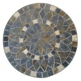 Mosaiktisch aus Naturstein ´´Blume´´, grau/braun, Ø 60 cm, H 71 cm