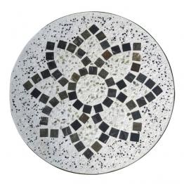 Mosaiktisch aus Naturstein ´´Kaleidoskop´´, hellgrau/braun, Ø 60 cm, H 71 cm