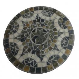 Mosaiktisch aus Naturstein ´´Modell A´´, grau/braun, Ø 60 cm, H 71 cm