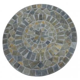 Mosaiktisch aus Naturstein ´´Modell B´´, grau/braun, Ø 60 cm, H 71 cm