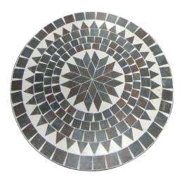 Mosaiktisch aus Naturstein ´´Modell C´´, grau/braun, Ø 60 cm, H 71 cm