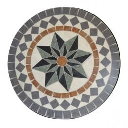 Mosaiktisch aus Naturstein ´´Rad´´, hellgrau/braun, Ø 60 cm, H 71 cm