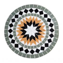 Mosaiktisch aus Naturstein ´´Sonne´´, grau/orange, Ø 60 cm, H 71 cm