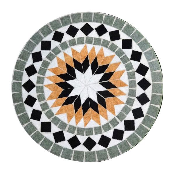 mosaiktisch aus naturstein sonne grau orange 60 cm h 71 cm shop ambiente mediterran. Black Bedroom Furniture Sets. Home Design Ideas