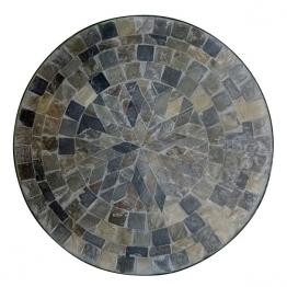 Mosaiktisch aus Naturstein ´´Stern´´, grau/braun, Ø 60 cm, H 71 cm