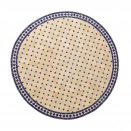 Mosaiktisch rund, beige/blau, H 75 cm, Ø 70 cm