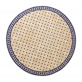 Mosaiktisch rund, beige/blau, H 75 cm, Ø 80 cm