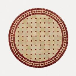 Mosaiktisch rund, beige/rot, H 75 cm, Ø 120 cm