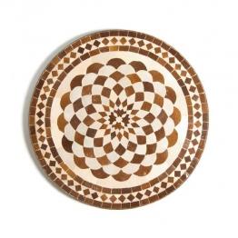 Mosaiktisch rund, braun/weiß, H 73 cm, Ø 60 cm