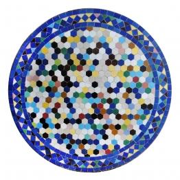Mosaiktisch rund, multicolor/blau, Ø 80 cm