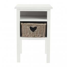 Nachttisch aus Holz mit Herzdekoration, weiß, B35