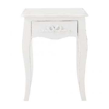 Nachttisch aus Holz mit Schublade, B 40cm, weiß