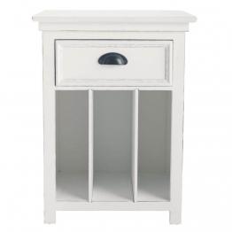 Nachttisch aus Holz mit Schublade, B 45cm, weiß