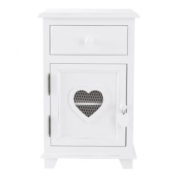 Nachttisch aus Holz mit Schublade, weiß, B40 Valentine