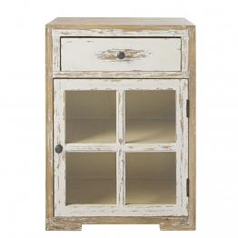 Nachttisch mit 1 Tür und 1 Schublade aus massivem weißem Kiefernholz und Glas Kinfolk