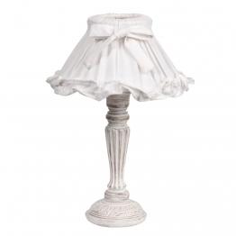 Nachttischlampe SONNET aus Holz mit Lampenschirm aus Stoff, H 38cm, weiß