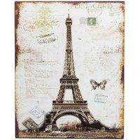 Nostalgie Blechschild Eiffelturm Paris Postkarte Deko-Schild 25x20cm