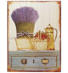 Nostalgie Blechschild Provence Lavendel Dekoschild Antik-Stil 33x25cm