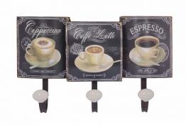 "Nostalgische Wandgarderobe ""Cappuccino Café Latte Espresso"" 3 Haken"