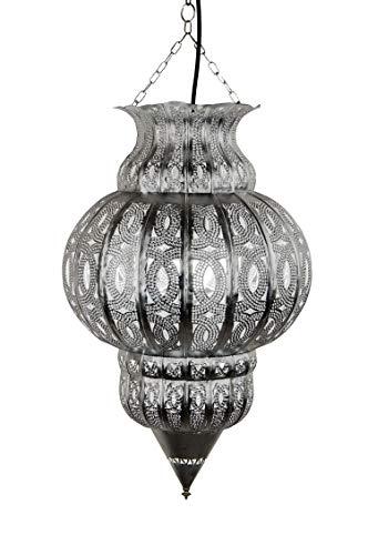 Orientalische Lampe Pendelleuchte Silber Isfahan 50cm E27 Lampenfassung | Marokkanische Design Hängeleuchte Leuchte aus Marokko | Orient Lampen für Wohnzimmer, Küche oder Hängend über den Esstisch - 2