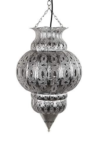 Orientalische Lampe Pendelleuchte Silber Isfahan 50cm E27 Lampenfassung | Marokkanische Design Hängeleuchte Leuchte aus Marokko | Orient Lampen für Wohnzimmer, Küche oder Hängend über den Esstisch - 3