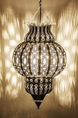 Orientalische Lampe Pendelleuchte Silber Isfahan 50cm E27 Lampenfassung | Marokkanische Design Hängeleuchte Leuchte aus Marokko | Orient Lampen für Wohnzimmer, Küche oder Hängend über den Esstisch - 1