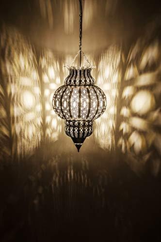 Orientalische Lampe Pendelleuchte Silber Isfahan 50cm E27 Lampenfassung | Marokkanische Design Hängeleuchte Leuchte aus Marokko | Orient Lampen für Wohnzimmer, Küche oder Hängend über den Esstisch - 4