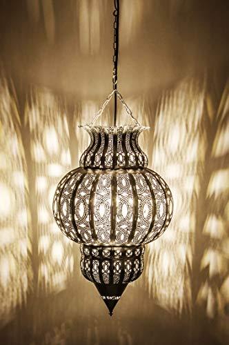 Orientalische Lampe Pendelleuchte Silber Isfahan 50cm E27 Lampenfassung | Marokkanische Design Hängeleuchte Leuchte aus Marokko | Orient Lampen für Wohnzimmer, Küche oder Hängend über den Esstisch - 5