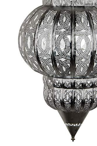 Orientalische Lampe Pendelleuchte Silber Isfahan 50cm E27 Lampenfassung | Marokkanische Design Hängeleuchte Leuchte aus Marokko | Orient Lampen für Wohnzimmer, Küche oder Hängend über den Esstisch - 6