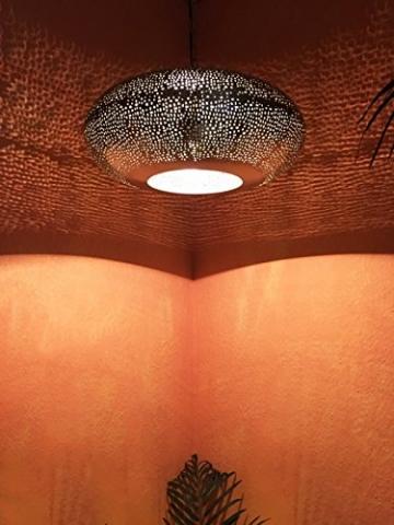 Orientalische Lampe Pendelleuchte Silber Qytura 42cm E27 Lampenfassung | Marokkanische Design Hängeleuchte Leuchte aus Indien | Orient Lampen für Wohnzimmer, Küche oder Hängend über den Esstisch - 3