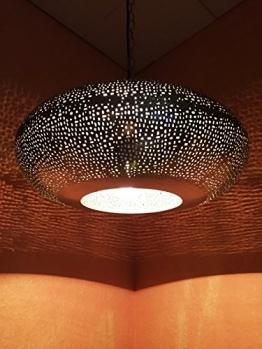 Orientalische Lampe Pendelleuchte Silber Qytura 42cm E27 Lampenfassung | Marokkanische Design Hängeleuchte Leuchte aus Indien | Orient Lampen für Wohnzimmer, Küche oder Hängend über den Esstisch - 1