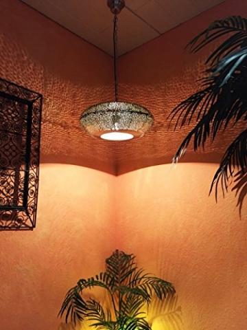 Orientalische Lampe Pendelleuchte Silber Qytura 42cm E27 Lampenfassung | Marokkanische Design Hängeleuchte Leuchte aus Indien | Orient Lampen für Wohnzimmer, Küche oder Hängend über den Esstisch - 4