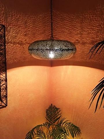 Orientalische Lampe Pendelleuchte Silber Qytura 42cm E27 Lampenfassung | Marokkanische Design Hängeleuchte Leuchte aus Indien | Orient Lampen für Wohnzimmer, Küche oder Hängend über den Esstisch - 5