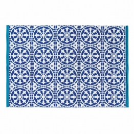 Outdoor-Teppich blau und weiß 140 x 200 cm SANTORINI