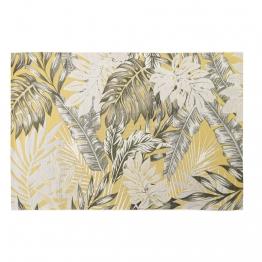 Outdoor-Teppich, gelb, bedruckt mit Blattmotiven 155x230