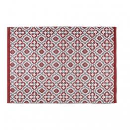 Outdoor-Teppich mit roten und weißen grafischen Motiven 140x200cm SAUBRIGES