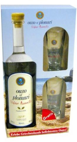 Ouzo Plomari 0,7l + 2x Ouzo-Glas im Geschenkkarton - 1