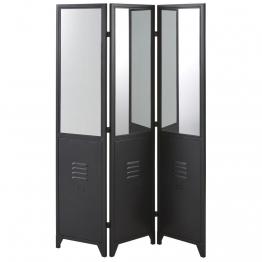 Paravent aus schwarzem Metall und Spiegel