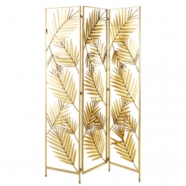 Paravent 'Blätter' aus goldfarbenem Metall